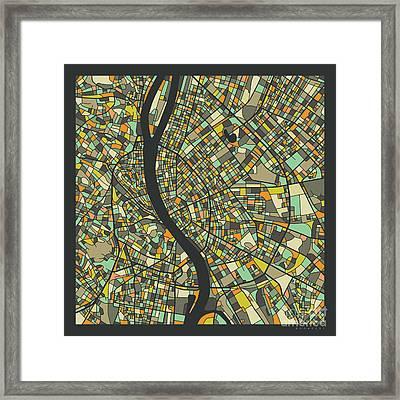 Budapest Map 2 Framed Print