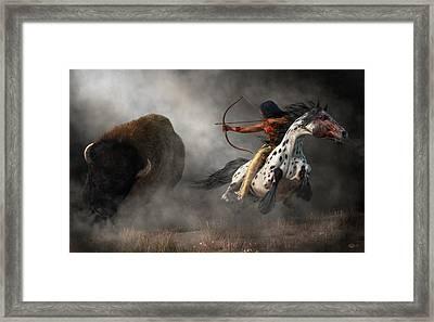Framed Print featuring the digital art Buffalo Hunt by Daniel Eskridge