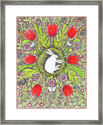 Bunny Nest With Red Flowers And White Butterflies Framed Print