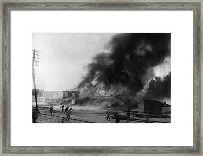 Burning Base Framed Print by General Photographic Agency