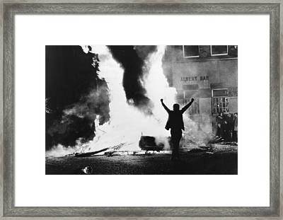 Burning Victory Framed Print by Frank Tewkesbury