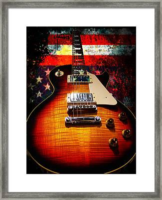 Framed Print featuring the digital art Burst Guitar American Flag Background by Guitar Wacky