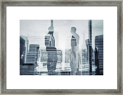 Business In The City Framed Print by Xavierarnau