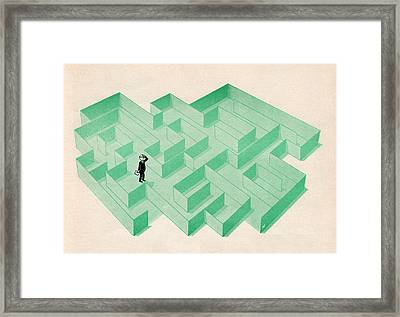 Businessman Trapped In Maze Framed Print