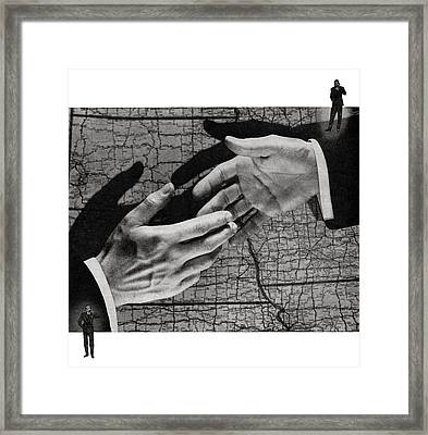 Businessmen Shaking Hands Framed Print by Graphicaartis
