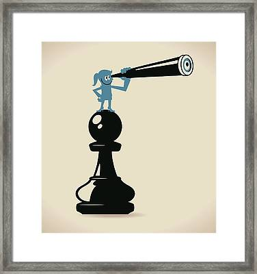Businesswoman Standing On A Pawn Chess Framed Print by Alashi