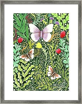Butterflies In The Millefleurs Framed Print