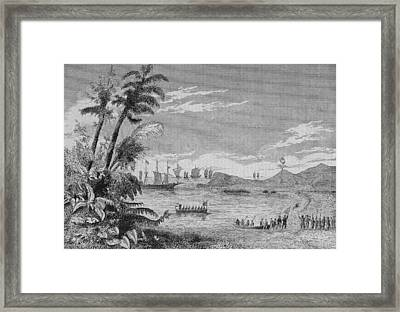 Cabral Taking Possession Of Brazil Framed Print by Kean Collection