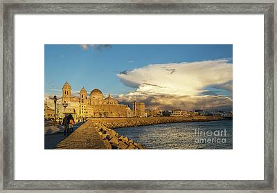 Framed Print featuring the photograph Cadiz Skyline And Cathedral Under Cumulonimbus by Pablo Avanzini