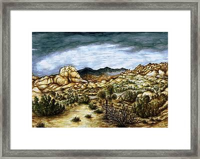 California Desert Landscape - Watercolor Art Painting Framed Print