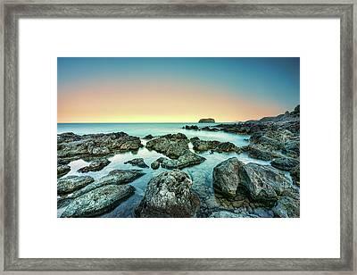 Calm Rocky Coast In Greece Framed Print