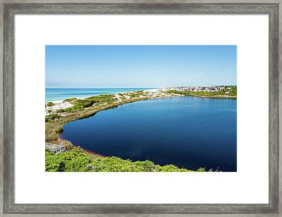 Camp Creek Lake Meets The Gulf Framed Print
