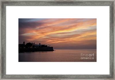 Framed Print featuring the photograph Candelaria Bulwark At Dusk Cadiz Spain by Pablo Avanzini