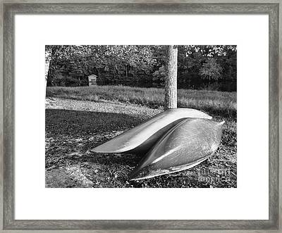 Framed Print featuring the photograph Canoes And A Boathouse Bnw by Rachel Hannah
