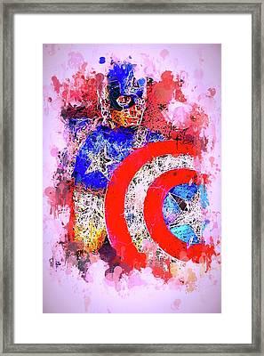Captain America Watercolor Framed Print