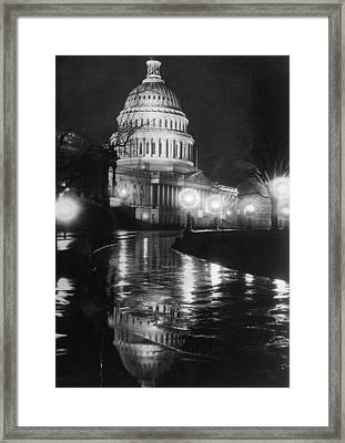 Capitol By Night Framed Print