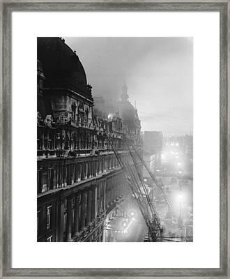 Carlton Fire Framed Print by Topical Press Agency