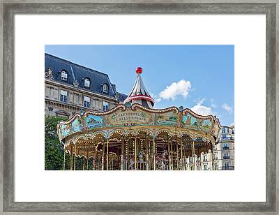 Framed Print featuring the photograph Carousel At The Hotel De Ville - Paris, France by Melanie Alexandra Price