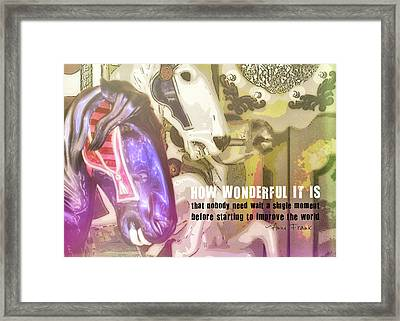 Carousel Gallop Quote Framed Print by JAMART Photography