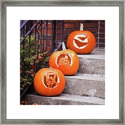 Framed Print featuring the photograph Carved Pumpkins For Autumn Holidays by Tatiana Travelways