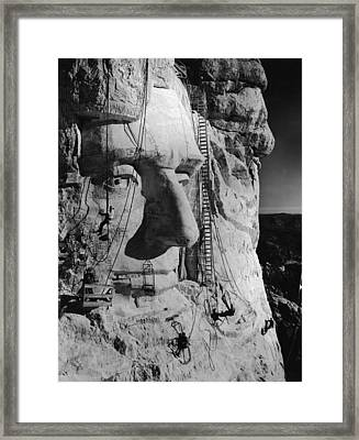 Carving Lincolns Head Framed Print by Frederic Lewis