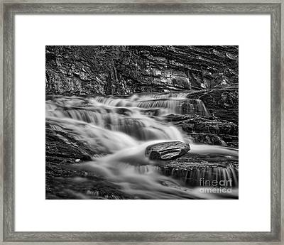 Framed Print featuring the photograph Cascade 2 Bw by Patrick M Lynch