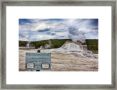 Framed Print featuring the photograph Castel Geyser In Yellowstone May Erupt by Tatiana Travelways