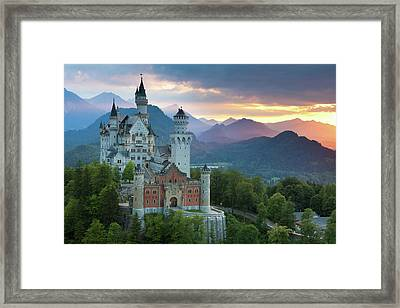 Castle Neuschwanstein With A Dramatic Framed Print