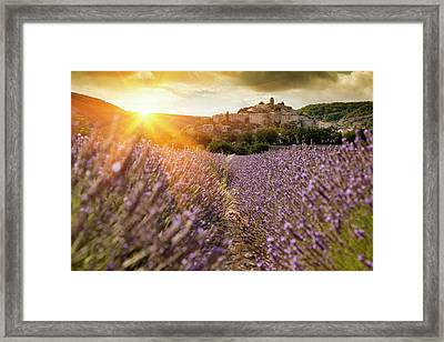 Castle Overlooking Field Of Flowers Framed Print by Cultura Rm Exclusive/walter Zerla