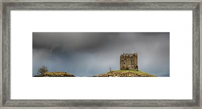 Framed Print featuring the photograph Castle Stalker Downpour by Grant Glendinning