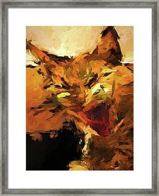 Cat Cathartic Scream Framed Print