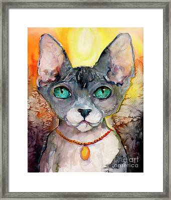 Framed Print featuring the painting Cat Portrait My Name Is Adorable by Ginette Callaway