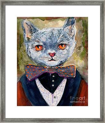 Framed Print featuring the painting Cat Portrait Einstein by Ginette Callaway