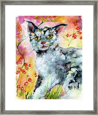 Framed Print featuring the painting Cat Portrait My Name Is Hobo by Ginette Callaway