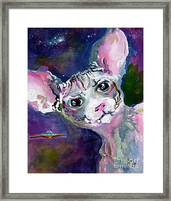 Framed Print featuring the painting Cat Portrait My Name Is Luna by Ginette Callaway