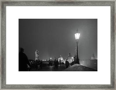 Framed Print featuring the photograph Charles Bridge At Night by Mark Duehmig