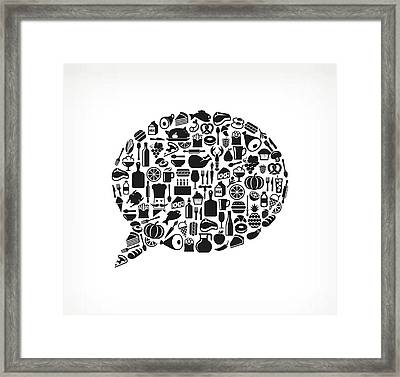 Chat Bubble Food & Drink Royalty Free Framed Print by Bubaone