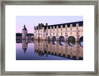 Chateau Chenonceau With Cher River Framed Print