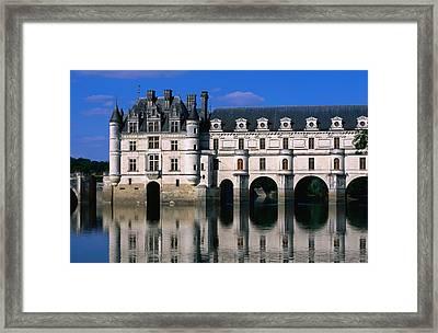 Chateau De Chenonceau Along Cher River Framed Print