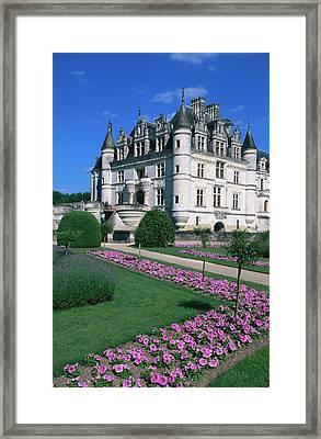 Chateau De Chenonceau With Catherine De Framed Print