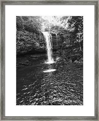 Framed Print featuring the photograph Cherokee Falls Bnw by Rachel Hannah