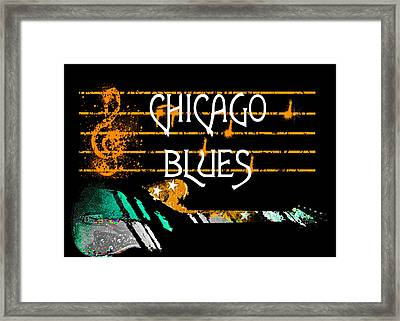 Framed Print featuring the digital art Chicago Blues Music by Guitar Wacky