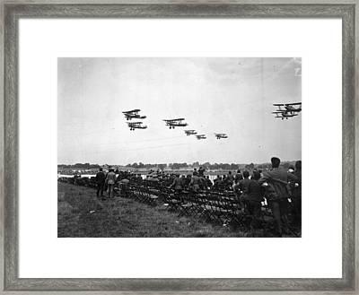 Children Watch Planes Framed Print by Davies