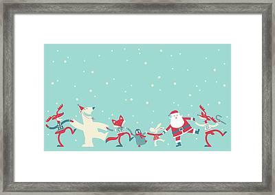 Christmas Dancing Framed Print by Akindo