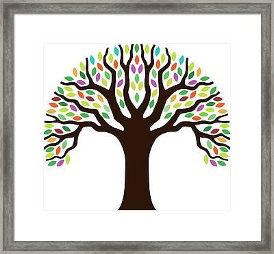 Chunky Little Tree Illustration Framed Print by Johnwoodcock
