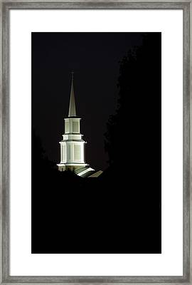 Framed Print featuring the photograph Church Steeple At Night by Jerry Sodorff