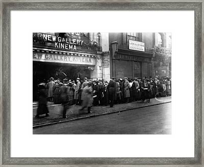 Cinema Crowd Framed Print by A. R. Coster