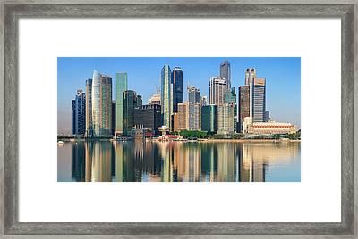 City Skyline - Singapore After Sunrise Framed Print by Hadynyah