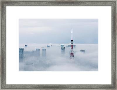 Cityscape And Tokyo Tower Covered In Framed Print by Tomoaki Nozawa / Eyeem