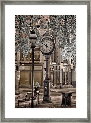 Clock On Street Framed Print